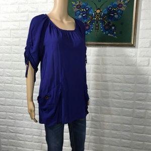 5/$25 Anthropologie Purple Odille 1/2 sleeve top